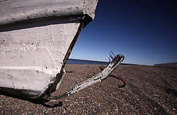USA ALASKA POINT HOPE 22JUL12 - Discarded fishing boat at Point Hope, North Slope Borough, Alaska. Point Hope is one of the oldest continually occupied sites in North America...© Jiri Rezac / Greenpeace..Photo by Jiri Rezac / Greenpeace