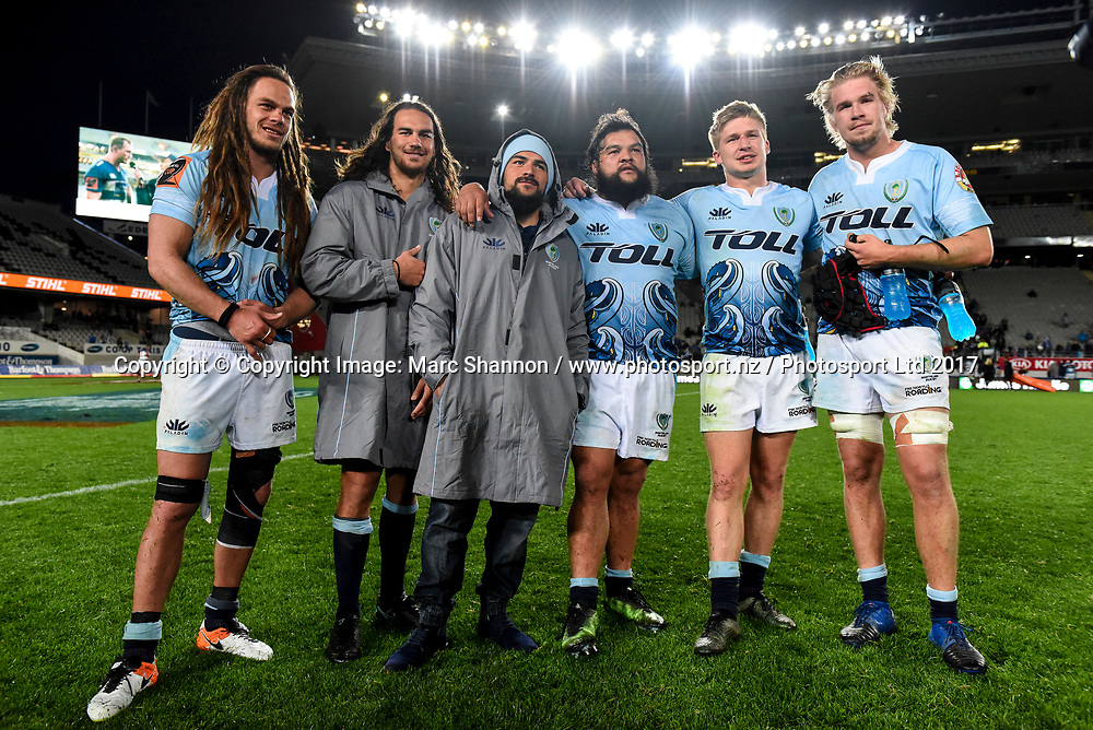 From L-R Dan Pryor, Kara Pryor, Jack Goodhue, Joshua Goodhue, Matt Wright, Ross Wright, all brothers playing for Northland during a match against Auckland.<br /> Auckland v Northland, Mitre 10 Cup Rugby, Eden Park, Auckland, New Zealand. 26 August 2017. &copy; Copyright Image: Marc Shannon / www.photosport.nz.