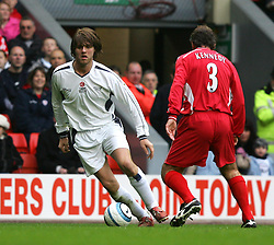 LIVERPOOL, ENGLAND - SUNDAY MARCH 27th 2005: Celebrity XI's Brian McFadden in action during the Tsunami Soccer Aid match against Liverpool Legends at Anfield. (Pic by David Rawcliffe/Propaganda)