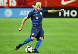 January 27, 2019 - Glendale, AZ, U.S. - GLENDALE, AZ - JANUARY 27: United States of America midfielder Michael Bradley (4) passes the ball during the international friendly between the United States Men's National Team and Panama on January 27th, 2019 at State Farm Stadium in Glendale, AZ (Photo by Adam Bow/Icon Sportswire) (Credit Image: © Adam Bow/Icon SMI via ZUMA Press)