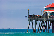 Man Jumping off Huntington Beach Pier