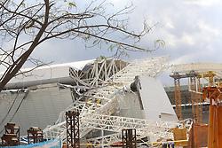 28.11.2013, Itaquerao Stadion, Sao Paulo, BRA, BRA, Itaquerao Stadion zerstoert, beim Bau des WM-Stadions in Sao Paulo ist es zu einem Unfall gekommen. Drei Bauarbeiter starben. Auch die pünktliche Fertigstellung des Stadions ist gefährdet, im Bild 28 11 2013, Itaquerao Stadion, Sao Paulo, BRA, Itaquerao Stadion zerstoert, beim Bau des WM-Stadions, Sao Paulo ist es zu einem Unfall gekommen Drei Bauarbeiter starben Auch die pünktliche Fertigstellung des Stadions ist gefährdet, im Bild EXPA Pictures © 2013, PhotoCredit: #AGENTUR#/ RAHEL PATRASSO. EXPA Pictures © 2013, PhotoCredit: EXPA/ Photoshot/ RAHEL PATRASSO<br /> <br /> *****ATTENTION - for AUT, SLO, CRO, SRB, BIH, MAZ only*****