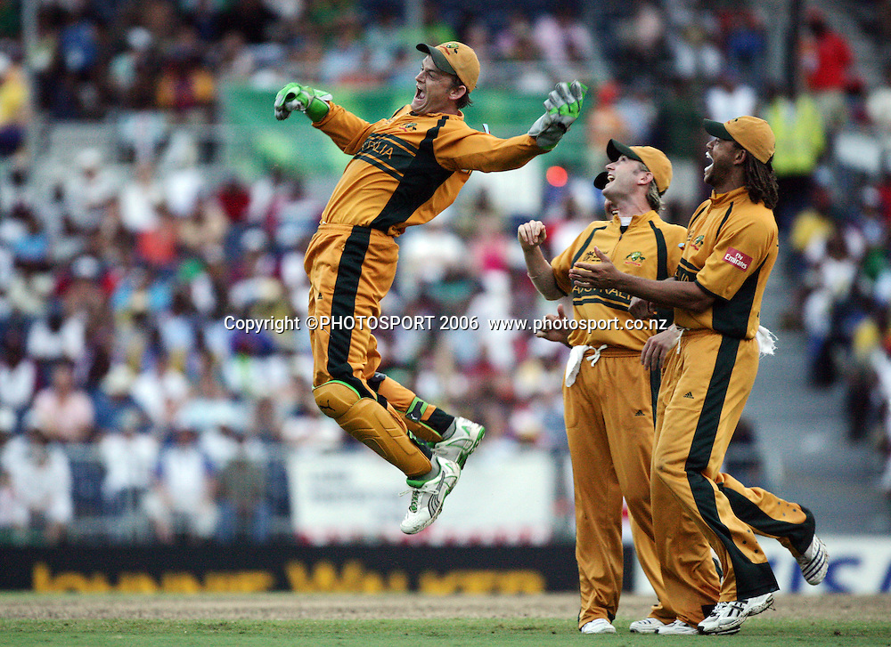 Australian wicketkeeper and all round legend Adam Gilchrist celebrates taking a catch to dismiss Sri Lankan batsman Russel Armold during the 2007 ICC Cricket World Cup Final between Australia and Sri Lanka at Kensington Oval, Barbados, West Indies on Saturday 28 April 2007. Australia won the toss and elected to bat first and won the match by 53 runs. Photo: Andrew Cornaga/PHOTOSPORT<br />