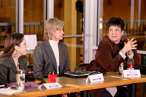 (from left) Amy Cary of Roberson Law; Elaine Harris of Harris Senior Consulting and Becky Mascari-Cox of RMC & Associates during the 'Hot Topics' Koffee Talk at the Dorothy Lane Market in Springboro, Friday, March 4, 2011.