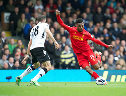 LONDON, ENGLAND - Sunday, May 12, 2013: Liverpool's Daniel Sturridge in action against Fulham during the Premiership match at Craven Cottage. (Pic by David Rawcliffe/Propaganda)