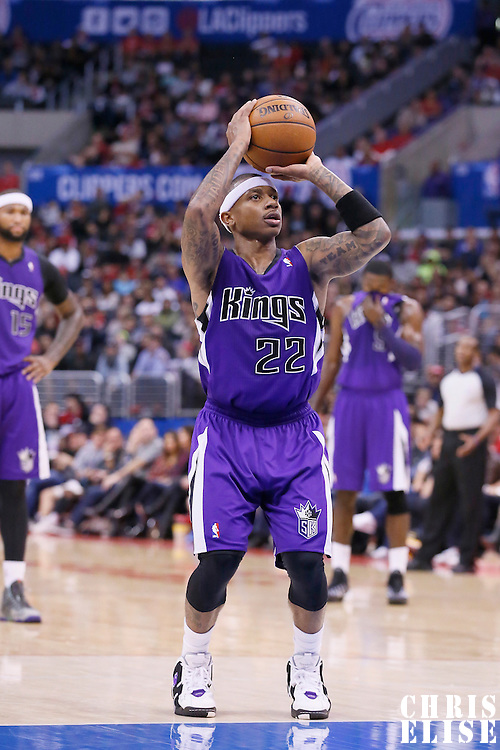 23 November 2013: Sacramento Kings point guard Isaiah Thomas (22) is seen at the free throw line during the Los Angeles Clippers 103-102 victory over the Sacramento Kings at the Staples Center, Los Angeles, California, USA.