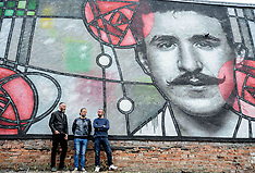 Giant Rennie Mackintosh inspired street mural unveiled, Glasgow, 15 June 2018