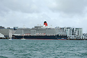 Mega cruise ship Queen Mary along side Princess wharf in Auckland. 15/2/2008