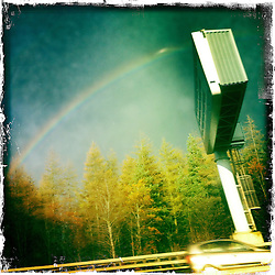 Rainbow and M9 motorway..Hipstamatic images taken on an Apple iPhone..©Michael Schofield.
