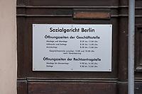 31 MAY 2010, BERLIN/GERMANY:<br /> Schild am Haupteingang, Sozialgericht Berlin<br /> IMAGE: 20100531-01-044