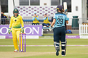 50 - Natalie Sciver acknowledges the crowd on reaching 50 during the Royal London Women's One Day International match between England Women Cricket and Australia at the Fischer County Ground, Grace Road, Leicester, United Kingdom on 2 July 2019.
