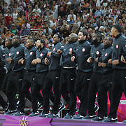 The USA basketball team on the podium after their Gold Medal victory during the Men's Basketball Final between USA and Spain at the North Greenwich Arena during the London 2012 Olympic games. London, UK. 12th August 2012. Photo Tim Clayton