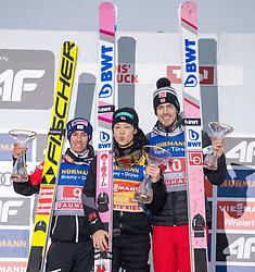04.01.2019, Bergiselschanze, Innsbruck, AUT, FIS Weltcup Skisprung, Vierschanzentournee, Innsbruck, Siegerehrung, im Bild v.l. Stefan Kraft (AUT, 2. Platz), Ryoyu Kobayashi (JPN, 1. Platz), Andreas Stjernen (NOR, 3. Platz) // f.l. second placed Stefan Kraft of Austria winner Ryoyu Kobayashi of Japan third placed Andreas Stjernen of Norway during the winner Ceremony for the Four Hills Tournament of FIS Ski Jumping World Cup at the Bergiselschanze in Innsbruck, Austria on 2019/01/04. EXPA Pictures © 2019, PhotoCredit: EXPA/ Johann Groder