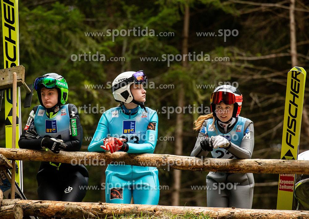 Katra Komar of Slovenia, Anna Shpyneva of Russia and Lisa Eder of Austria during Day 3 of World Cup Ski Jumping Ladies Ljubno 2019, on February 10, 2019 in Ljubno ob Savinji, Slovenia. Photo by Matic Ritonja / Sportida