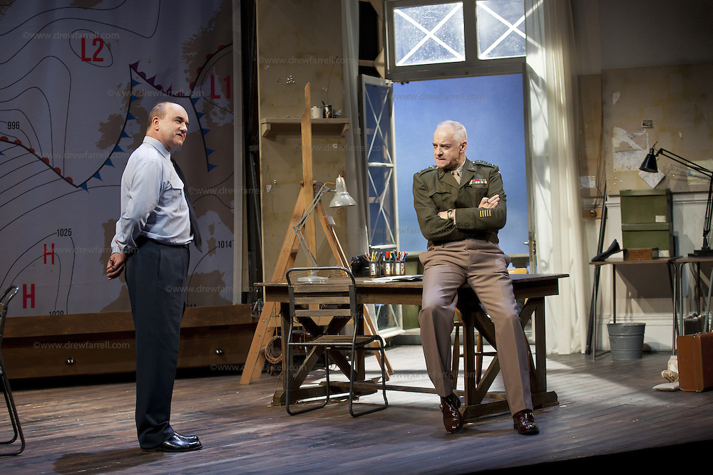 The Lyceum present the World Premiere of Pressure<br /> By David Haig<br /> <br /> Picture shows : David Haig &ndash; Group Captain Dr. James Stagg (l) and Malcolm Sinclair &ndash; General Dwight D &ldquo;Ike&rdquo; Eisenhower ( right )<br /> <br /> <br /> Picture : Drew Farrell<br /> Tel : 07721 -735041<br /> www.drewfarrell.com<br /> Directed by John Dove<br /> A co-production with Chichester Festival Theatre<br /> June 1944. One man's decision is about to change the course of history.<br /> <br /> Cast<br /> David Haig &ndash; Group Captain Dr. James StaggLaura Rogers &ndash; Kay SummersbyRobert Jack &ndash; AndrewAnthony Bowers &ndash; Lieutenant Battersby/ Captain JohnsScott Gilmour &ndash; Young Naval RatingMalcolm Sinclair &ndash; General Dwight D &ldquo;Ike&rdquo; EisenhowerTim Beckmann &ndash; Colonel Irving P. KrickMichael Mackenzie &ndash; Electrician/Admiral Bertram &ldquo;Bertie&rdquo; RamsayAlister Cameron &ndash; Air Chief Marshall Sir Trafford Leigh-MalloryGilly Gilchrist &ndash; General &ldquo;Tooey&rdquo; Spaatz/Commander Franklin<br /> Creative Team<br /> Director - John DoveDesigner - Colin RichmondLX Designer - Tim MitchellDeputy LX Designer - Guy JonesComposer/Sound Design - Philip PinskyVideo Designer - Andrzej Goulding&nbsp;&nbsp;<br /> An intense real-life thriller centred around the most important weather forecast in the history of warfare.Scottish meteorologist, Group Captain James Stagg, the son of a Dalkeith plumber, must advise General Eisenhower on when to give the order to send thousands of waiting troops across the Channel in Operation Overlord.In what became the most volatile period in the British Isles for over 100 years, the future of Britain, Europe and our relationship with the United States, rested on the shoulders of one reluctant Scotsman.<br /> Pressure is the extraordinary and little known story of a Scot who changed the course of war, and our lives, forever.David Haig is a four time nominee and Olivier Award winning actor 