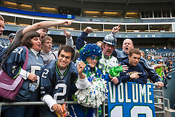 September 26, 2010; Seattle, WA, USA;  Seattle Seahawks fans cheer during warm ups before the game against the San Diego Chargers at Qwest Field.