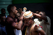 Pilgrim in a trance at Thaipusam Festival, Batu Caves, Malaysia. It is a Hindu festival celebrated mostly by the Tamil community on the full moon in the Tamil month of Thai (Jan/Feb). The festival celebrates the birth of Murugan,the youngest son of Shiva and his wife Parvati. The festival at Batu Caves, Kuala Lumpur culminates in a 272 step climb into the cave.
