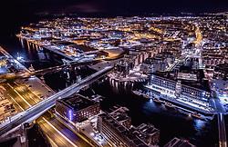 THEMENBILD - Stadtlichter von Trondheim mit dem Hafen am Abend, aufgenommen am 13. Maerz 2019 in Trondheim, Norwegen // City lights of Trondheim with the harbour in the evening, Trondheim, Norway on 2018/03/13. EXPA Pictures © 2019, PhotoCredit: EXPA/ JFK