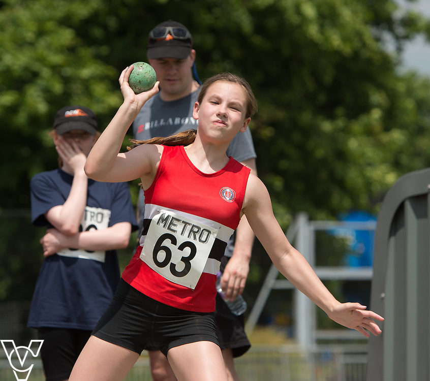 Metro Blind Sport's 2017 Athletics Open held at Mile End Stadium.  Shot put.  Katie Crowhurst<br /> <br /> Picture: Chris Vaughan Photography for Metro Blind Sport<br /> Date: June 17, 2017