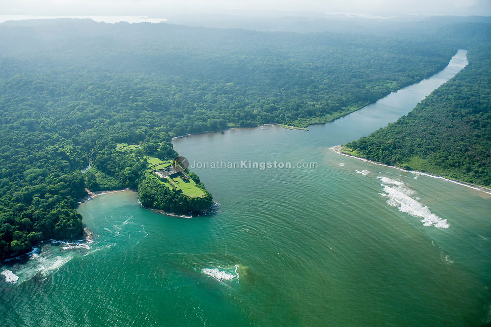 Aerial view of Fort San Lorenzo and the Chagres river, Colon, Panama.