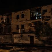 Vue réalisée le 14 juin 2017 à Aden d'un immeuble détruit lors de la dernière guerre.