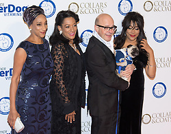 "Battersea, London, November 3rd 2016.  Celebrities and their dogs attend The Evolution at Battersea Park to attend The Battersea Dogs and Cats Home ""Collars and Coats Ball"". PICTURED: Sister Sledge and Harry Hill"