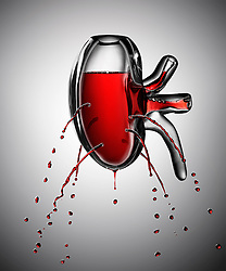 Damaged kidney bleeding with streaks of red wine. Illustration of a problem of excessive use of alcohol commissioned by Men's Health Magazine.