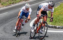 07.07.2017, St. Johann Alpendorf, AUT, Ö-Tour, Österreich Radrundfahrt 2017, 5. Kitzbühel - St. Johann/Alpendorf (212,5 km), im Bild Davide Ballerini (ITA, Nationale Italiana), Matthias Krizek (AUT, Tirol Cycling Team) // Davide Ballerini (ITA, Nationale Italiana), Matthias Krizek (AUT, Tirol Cycling Team) during the 5th stage from Kitzbuehel - St. Johann/Alpendorf (212,5 km) of 2017 Tour of Austria. St. Johann Alpendorf, Austria on 2017/07/07. EXPA Pictures © 2017, PhotoCredit: EXPA/ JFK