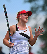 Iowa City High's Eve Small reacts after missing a shot during the Singles Draw finals match of the Class 2A state tennis tournament at Veterans Memorial Tennis Center in Cedar Rapids on Friday, May 31, 2013.