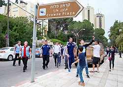 HAIFA, ISRAEL - Saturday, March 28, 2015: Security protect Wales' Gareth Bale on a team walk as fans take photographs ahead of the UEFA Euro 2016 qualifying Group B match against Israel. (Pic by David Rawcliffe/Propaganda)