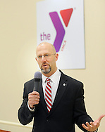 Zane Moore, President and CEO of Central Bucks YMCA speaks to the crowd during the grand opening of the Warminster YMCA Tuesday, January 31, 2017 in Warminster. Pennsylvania. (Photo by William Thomas Cain)
