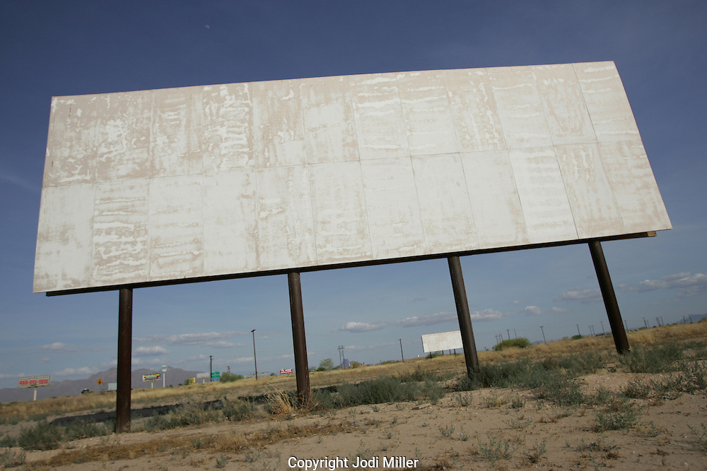 Empty billboards in the desert