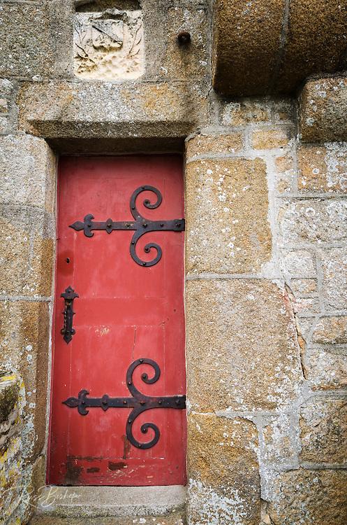 Red door, Mont Saint-Michel, Normandy, France