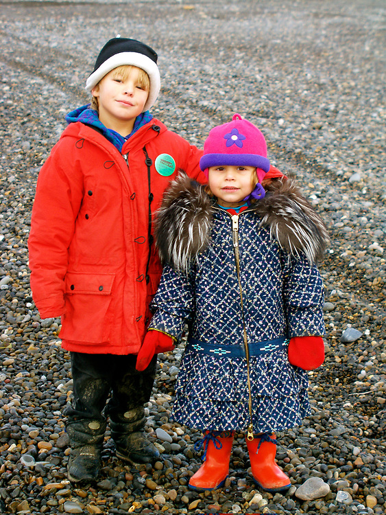 Barrow, Alaska. Kids at the beach. James and Juliana Aikins.MR