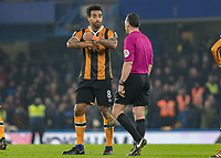 Football - 2016 / 2017 Premier League - Chelsea vs. Hull City <br /> <br /> Tom Huddlestone of Hull City tries to exlplain to referee Neil Swarbrick that he was hels after Chelsea take the lead at Stamford Bridge.<br /> <br /> COLORSPORT/DANIEL BEARHAM