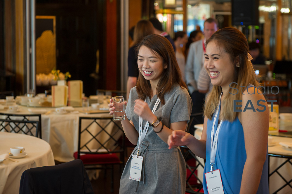 Registration and Set-up during the The Trade Desk Programmatic Breakfast Briefing on 13July 2017 in the China Club, Hong Kong. Photo by Lucas Schifres