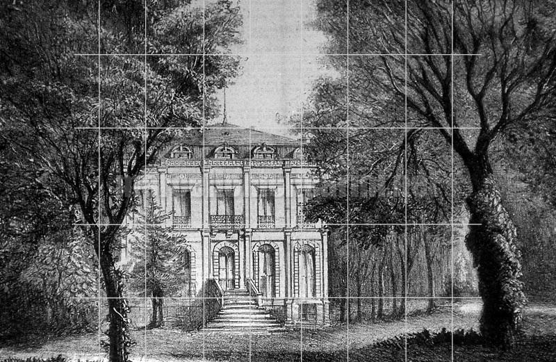 Paris, Passy, Parc de Beausejour. Gioacchino Rossini's house / Parigi, Passy, Parc de Beausejour. Villa di Gioacchino Rossini - Reproduced by Marcello Mencarini