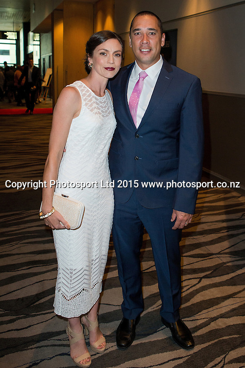 Paul Henare with his wife Lisa at the SkyCity Breakers Awards, 2014-15, SkyCity Convention Centre, Auckland, New Zealand, Friday, March 20, 2015. Copyright photo: David Rowland / www.photosport.co.nz