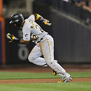 Andrew McCutchen, Pittsburgh Pirates, running to second during the New York Mets Vs Pittsburgh Pirates MLB regular season baseball game at Citi Field, Queens, New York. USA. 15th August 2015. Photo Tim Clayton