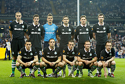 LONDON, ENGLAND - THURSDAY, SEPTEMBER 29, 2011: Shamrock Rovers pose for a team photograph prior to the UEFA Europa League Group A match at White Hart Lane. (Photo by Chris Brunskill/Propaganda)