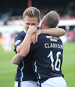 David Clarkson is congratulated after scoring by Greg Stewart  - Dundee v Hamilton, SPFL Premiership at Dens Park<br /> <br />  - &copy; David Young - www.davidyoungphoto.co.uk - email: davidyoungphoto@gmail.com