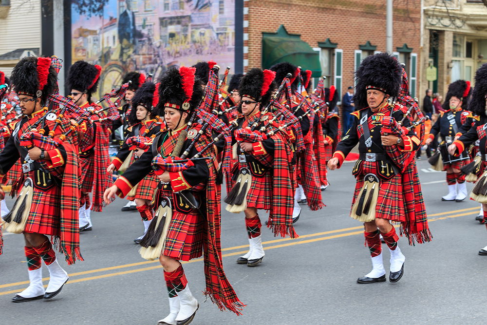 York, PA / USA - March 12, 2016 The Kiltie Band of York show off their British military style dress uniforms at the annual Saint Patrick's Day Parade