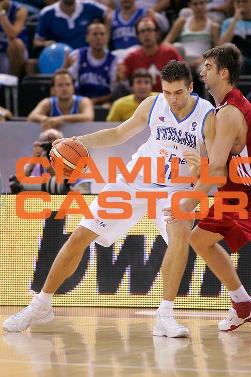 DESCRIZIONE : Madrid Spagna Spain Eurobasket Men 2007 Qualifying Round Italia Turchia Italy Turkey <br /> GIOCATORE : Andrea Bargnani <br /> SQUADRA : Nazionale Italia Uomini Italy <br /> EVENTO : Eurobasket Men 2007 Campionati Europei Uomini 2007 <br /> GARA : Italia Turchia Italy Turkey <br /> DATA : 10/09/2007 <br /> CATEGORIA : Palleggio Bwin <br /> SPORT : Pallacanestro <br /> AUTORE : Ciamillo&amp;Castoria/T.Wiedensohler <br /> Galleria : Eurobasket Men 2007 <br /> Fotonotizia : Madrid Spagna Spain Eurobasket Men 2007 Qualifying Round Italia Turchia Italy Turkey <br /> Predefinita :