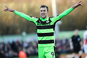 Forest Green Rovers Christian Doidge(9) scores a goal 1-0 and celebrates during the EFL Sky Bet League 2 match between Forest Green Rovers and Cheltenham Town at the New Lawn, Forest Green, United Kingdom on 25 November 2017. Photo by Shane Healey.