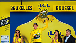 Podium of the yellow leaders jersey with Mike Teunissen (NED) of Team Jumbo-Visma (NED,WT,Bianchi) after stage 2 TTT from Bruxelles to Brussel of the 106th Tour de France, 7 July 2019. Photo by Pim Nijland / PelotonPhotos.com | All photos usage must carry mandatory copyright credit (Peloton Photos | Pim Nijland)