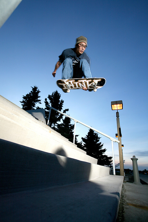 Skateboarder Ted Kim in Anchoage, Alaska. 2010