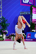 Shang Rong during the qualification of the group stage at the Pesaro World Cup 2018.Rong is a gymnast from the Chinese Republic born in Liaoning in 2000. She debuted in the senior category in the 2015 season.
