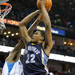 Jan 20, 2010; New Orleans, LA, USA; Memphis Grizzlies forward Rudy Gay (22) shoots over New Orleans Hornets forward Julian Wright (32) during the first half at the New Orleans Arena. Mandatory Credit: Derick E. Hingle-US PRESSWIRE