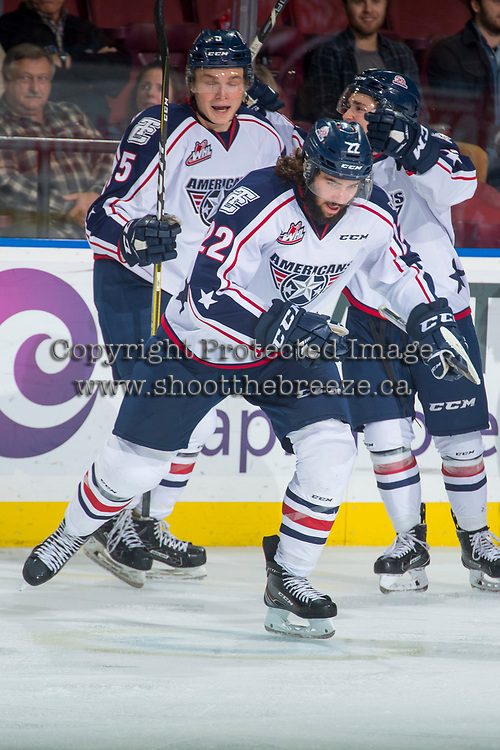 KELOWNA, CANADA - OCTOBER 27: Nolan Yaremko #22 and Mitchell Brown #5 of the Tri-City Americans celebrate a goal against the Kelowna Rockets on October 27, 2017 at Prospera Place in Kelowna, British Columbia, Canada.  (Photo by Marissa Baecker/Shoot the Breeze)  *** Local Caption ***