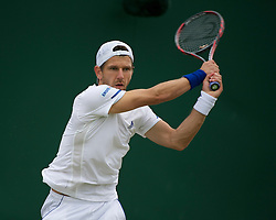 LONDON, ENGLAND - Thursday, June 23, 2011: Jurgen Melzer (AUT) in action during the Gentlemen's Singles 2nd Round match on day four of the Wimbledon Lawn Tennis Championships at the All England Lawn Tennis and Croquet Club. (Pic by David Rawcliffe/Propaganda)